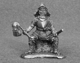Antique Action Figurine Japanese Samurai Daimyo Noble 1/32 Scale Warrior Toy Soldiers 54mm Tin Metal Miniature  Statuette