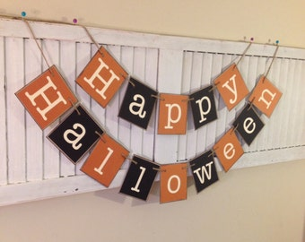 Happy Halloween Banner Sign Garland Bunting Primitive Halloween Orange and Black