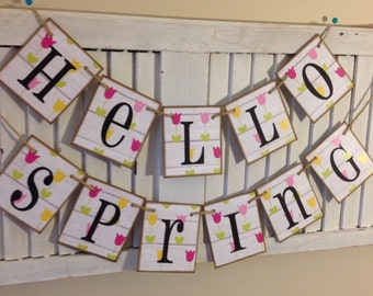 Hello Spring Banner Sign Bunting Garland Tulips Shabby Barn Siding Cards Cute Photo Prop