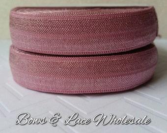 2, 3, 4, 5 or 10 yards Rosey Mauve Fold over elastic, FOE. Headbands, Hair ties, DIY, Crafts, Hair accessories