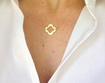 Gold Clover Necklace- Quatrefoil Necklace- Luck Charm Necklace- Dainty Necklace- Layered Necklace- Gold Necklace- Jewelry