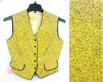 80s Vintage Yellow Corduroy Vest Womens Small, Abstract Geometric Line Pattern, Cropped V Neck Button Down Vest