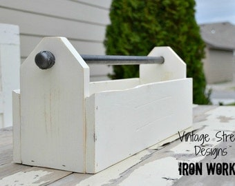Wood Tool Box, Tool Tote, Tool Caddy, Garden Tote, Toolbox, Farmhouse, Distressed White, Handcrafted Rustic Wood Tote, Table Centerpiece