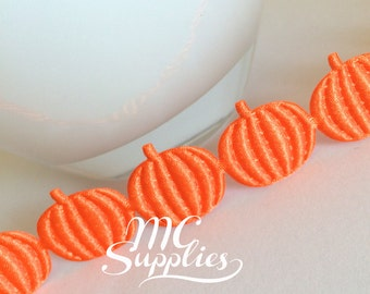 Pumpkins ribbon,autumn ribbon,satin pumpkin,pumpkin trim,embellish trim,crafts trim,card making trim,fall trim,scrapbooking trim,175