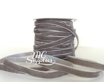 Gray velvet ribbon,velvet ribbon,ribbon for bows,ribbon by the yard,ribbon for hair clips,gray ribbon,sewing ribbon,fabric ribbon,122