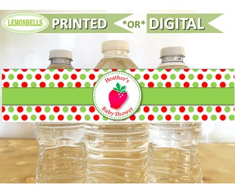 Strawberry Water Bottle Labels, Strawberry Birthday Party Decoration, Strawberry Baby Shower,  Strawberry Party Gifts, LemonBells, WW01
