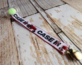 Baby Pacifier Clip - Red Tractor Antique Red Tractor, Farming, Country Boy Country Girl (Shabby Rose Option)