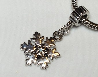 Delicate Snowflake Dangle Charm -  Center is an Aquamarine Blue Crystal - Fits all Designer and European Charm Bracelets*