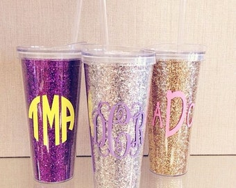 22 oz Monogrammed Glitter Tumbler + Lid & Straw Monogram -  Initial Double Walled- Single Initial or Monogram - Bridesmaids Gifts - Wedding