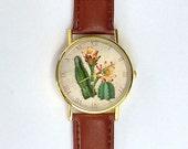Vintage Cactus Watch, Succulents, Desert Watch, Ladies Watch, Men's Watch, Nature, Modern, Analog, Gift Idea