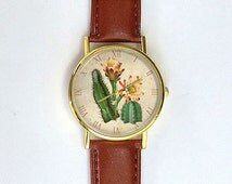 Vintage Cactus Watch, Succulents, Custom Watch, Ladies Watch, Men's Watch, Vintage Watch, Cute Watch, Horticulture, Gardening Gift