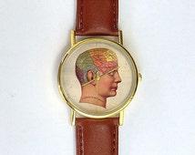 Vintage Anatomical Brain Watch, Unisex, Ladies Watch, Men's Watch, Medical Illustration, Vintage Inspired, Medical Watch, Analog, Gift Idea