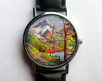 Vintage Paint by Numbers Watch, Mountain Scenery, Hiking, Landscape, Vintage Inspired, Ladies Watch, Men's Watch, Analog, Gift Idea