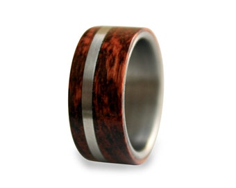 Titanium mens ring off-center band with snakewood