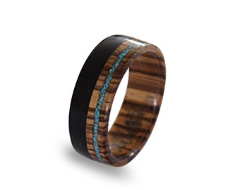 Handmade Wooden Ring for Men made from Zebrano Wood, Inlaid with Ebony Wood and Crushed Turquoise, Turquoise Ring, Wooden Ring