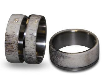 Engagement Antler Ring and Antler Wedding Band Set, Titanium Ring set, Mens Ring, Womens Ring, Mens Band