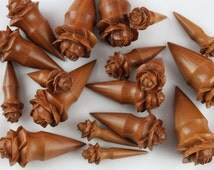 Blooming Flower Tapers - Ear Stretching taper - Hand Carved wood tapers - Flower ear stretch taper - Stylish plugs 8mm - 26mm) - PA17