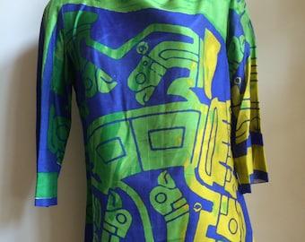 Vintage Vera silk tribal print blouse