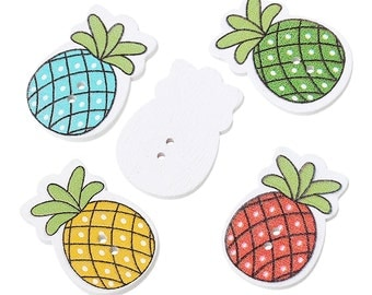 Mixed Colour Wooden Pineapple Fruit Design Buttons. 3.0cm x 21.0mm. Ideal for sewing, scrapbooking, card making and other craft projects