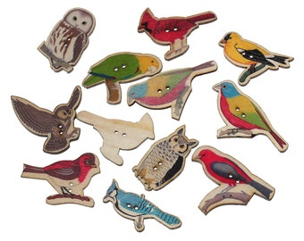 Wooden Multi- colour Assorted Bird Design Buttons , Ideal for sewing, knitting, scrap books, card making and other crafts