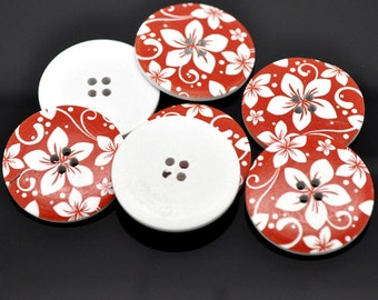 5 Extra Large Red and White Wooden Buttons 40mm (4cm). Ideal for Sweaters, Coats and Home decor. Scrapbook and Crafts