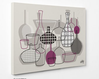 Bottles & Vases | Wall Art Canvas Print - Purple