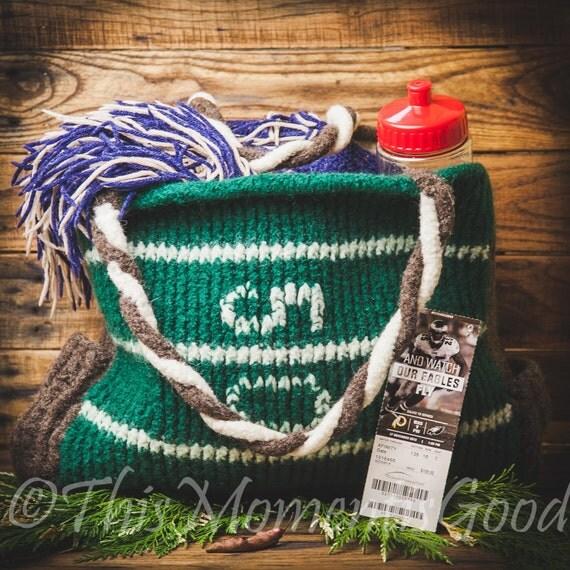 Loom Knitting Bag Patterns : Loom Knit Football Theme Tote Bag PATTERN. Loom Knit felted