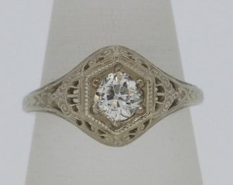 Old Mine Cut Filigee Engagement Ring