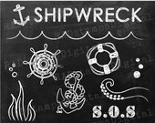 NAUTICAL Chalkboard Clipart Digital Stamp Chalk Graphic Instant Download CH10006