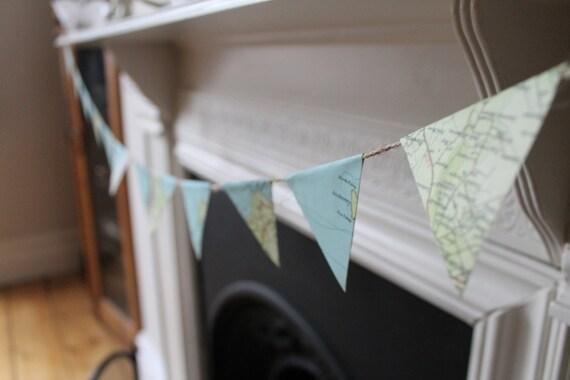 Map wedding bunting, bespoke UK destinations 5m lengths