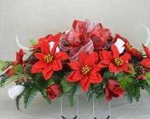 NO. CS006 Holiday Christmas Silk Flower Cemetery, Tombstone Saddle, Cemetery flowers , Grave flowers, Cemetery Saddle.