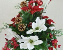 NO.CC002 Holiday Christmas Silk Flower Cemetery, Cone Vase Arrangement,Tombstone Saddle, Cemetery flowers , Grave flowers, Cemetery Saddle.