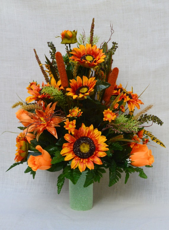 No fc fall cemetery arrangement autumn cone flower