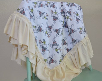 Sweet little girl and fox Ruffled Baby Blanket