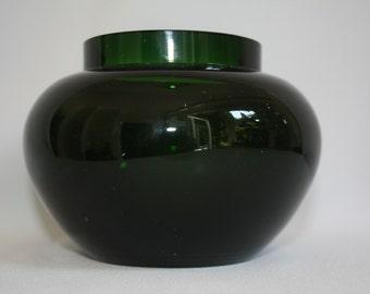 scandinavian glass, green vase