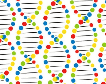 DNA Fabric, Chromatics 3MMA1 In The Beginning Fabrics, Melissa McCulloch, Science Quilt Fabric, Chemistry Fabric, Laboratory Fabric, Cotton