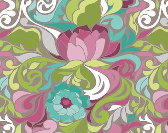 Abstract Floral Fabric, Halle Rose C4181 Gray, Riley Blake, Lila Tueller, Art Deco Quilt Fabric, Aqua, Green, Mauve, , Gray, Cotton