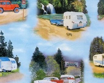 Retro Camper Fabric, Elizabeths Studio ELS3501-Blue, Camping Fabric, Vintage Cars, Campers & Trailers, Glamping Quilt Fabric, Cotton