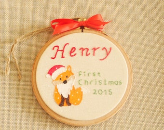 Bearded Fox First Christmas Ornament, Baby Ornament, Baby Personalized Christmas Ornament, Christmas Hoop Art / Tree Ornament, Fox Ornament