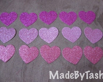 15x 4.5cm Shades of Pink Glitter Heart die cuts, scrapbooking supplies, cardmaking