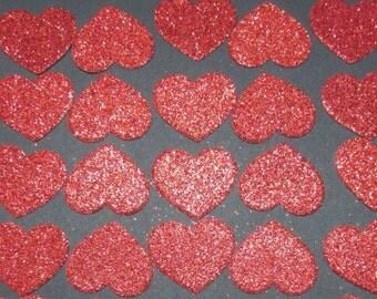 20x 3cm Red Glitter Heart die cuts