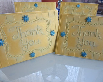 Thank You Card with gold embossed paper and blue glitter flowers