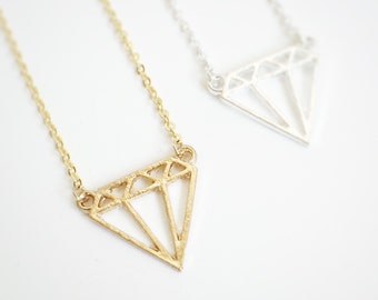 Origami Diamond Necklace - Gold - Silver - Jewelry - Statement - Kid - Dogeared Necklace