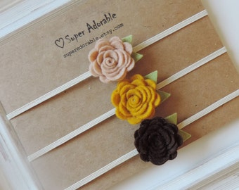 Felt Flower Headbands - newborn/baby/toddler headbands