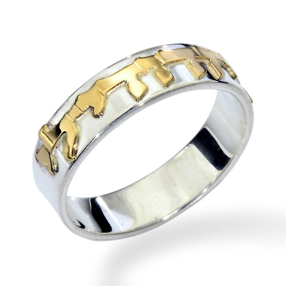 Sterling Silver And Gold Narrow Ani Ledodi Jewish Wedding Ring