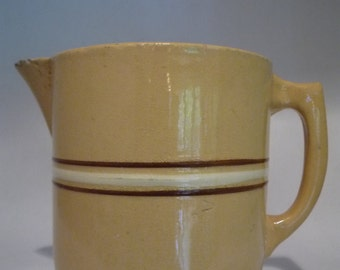 Antique LARGE Yelloware Pitcher 3 Band White Brown Caramel Mocha
