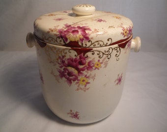 antique porcelain covered jar pot pink red yellow gilt hand painted handles planter compost