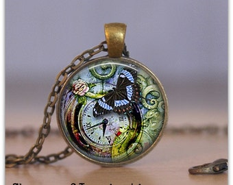 Butterfly necklace Butterfly jewelry Clock Necklace Steampunk Pendant Jewelry 097