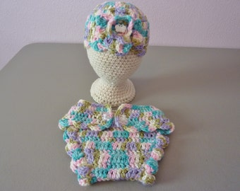 Large Preemie Hat and Diaper Cover Crocheted Set in Pastel Ombre with Teddybear Buttons