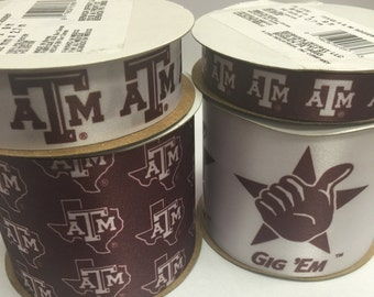 Offray 4-Pack Texas A&M Aggies Ribbon,  NCCA ribbon  Offray College Ribbon